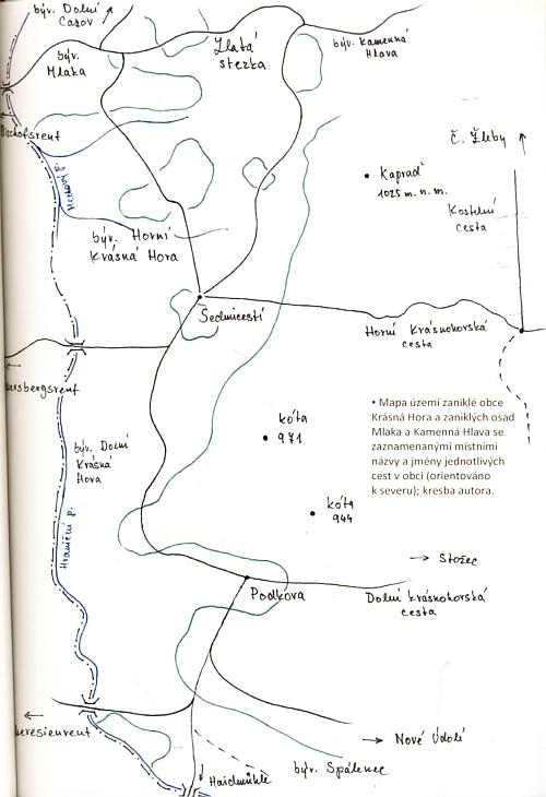 Mapka území zaniklé obce Krásná Hora a zaniklých osad Mlaka a Kamenná Hlava