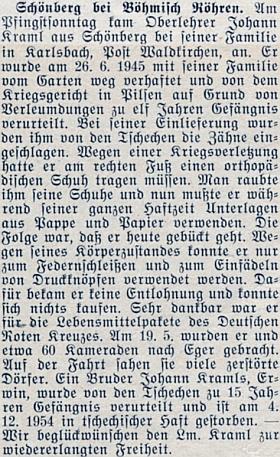 Zpráva o propuštění Johanna Kramla do Spolkové republiky v roce 1955 (jeho bratr Erwin ovšem v československém vězení rok předtím zemřel)