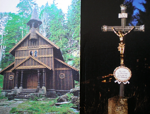 Parte, na vnější straně s fotografií Stožecké kaple, modlitba ke svaté Anně uvnitř připomíná jí zasvěcený kostel v Českých Žlebech, v němž byl zesnulý kdysi pokřtěn a který už neexistuje