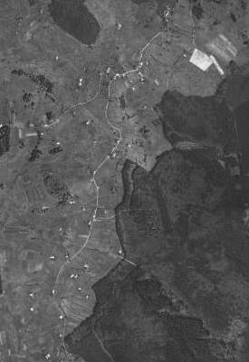 Krásná Hora na leteckých snímcích z let 1949 a 2008