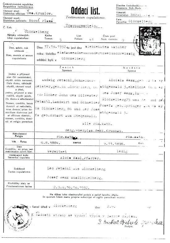 Tento oddací list dokumentuje už třetí svatbu otcovu v roce 1932 - oodávajícím  knězem byl opět Alois Essl