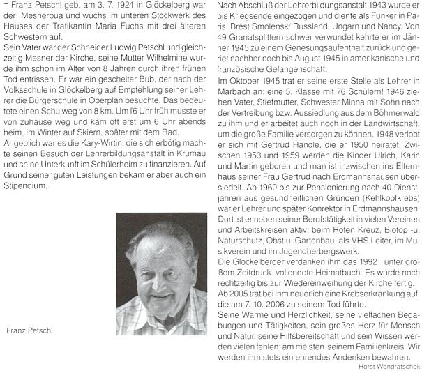 Autorem jeho nekrologu v krajanském měsíčníku se stal Horst Wondratschek
