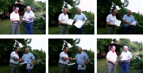 Série snímků z července 2003, kdy mu byl předán čestný diplom místní skupiny     Německého červeného kříže vErdmannhausen, jejímž byl zakládajícím členem