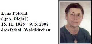 Připomenutí úmrtí jeho ženy na webových stránkách glöckelberských rodáků