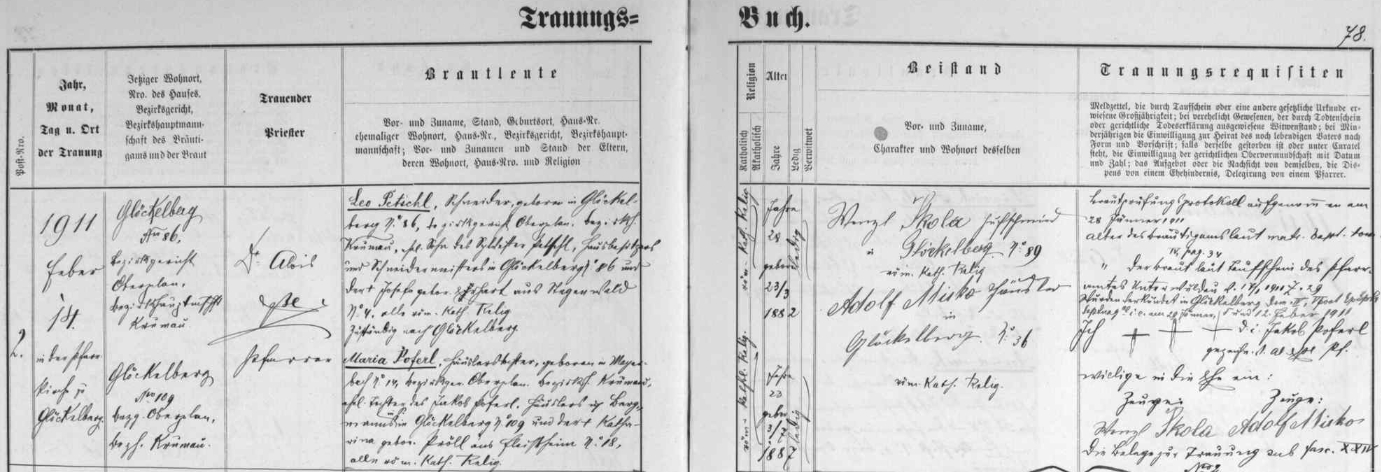 Svatba jeho rodičů, jak ji zaznamenala glöckelberská oddací matrika