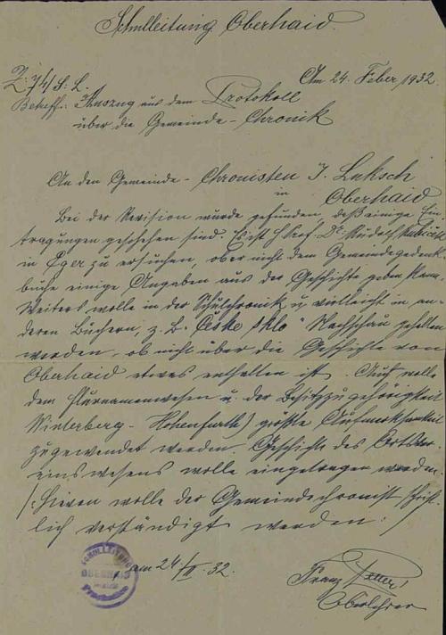Originál jeho přípisu do zbytinské obecní kroniky i s jeho podpisem