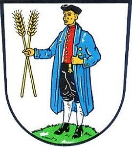 Znak městyse Rothenkirchen, kde skonal (od roku 1978 je součástí městyse Pressig)