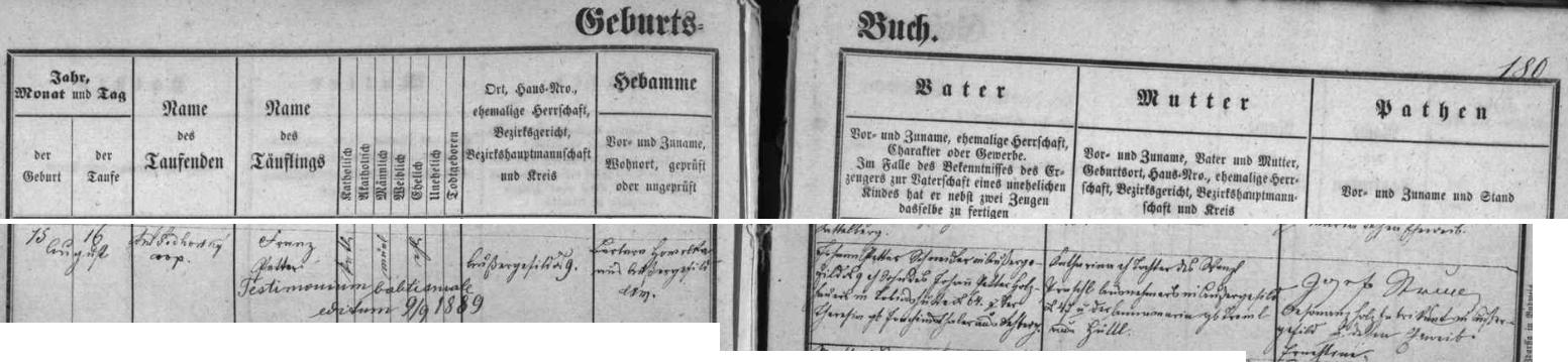 Záznam kvildské matriky o jeho narození a křtu, který provedl kooperátor Antonín Podhorský