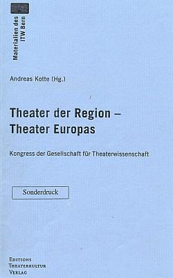 Obálka (1995) zvláštního otisku příspěvku oPetzoldovi na bernském kongresu švýcarské společnosti pro divadelní vědy (Editions Theaterkultur-Verlag, Basilej)