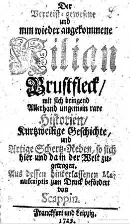 Titulní list jeho knihy, vydané v roce 1729