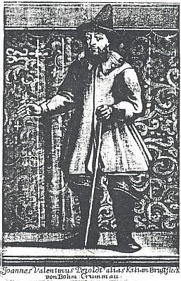 Mědirytina se zpodobením Petzoldovým v roli Kiliana Brustflecka k básni na počet svatby Karla Egona zFürstenberka s Marií Františkou ze Schwarzenberka roku 1699