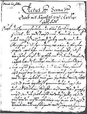 """První strana krumlovského rukopisu """"Romio und Julie"""" z doby kolem roku 1688"""