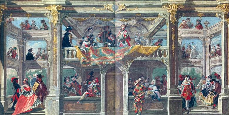 Návrh dekorace Maškarního sálu na českokrumlovském zámku, jehož autorem     je Andreas Altomonte - olejomalba na plátně vznikla kolem roku 1748