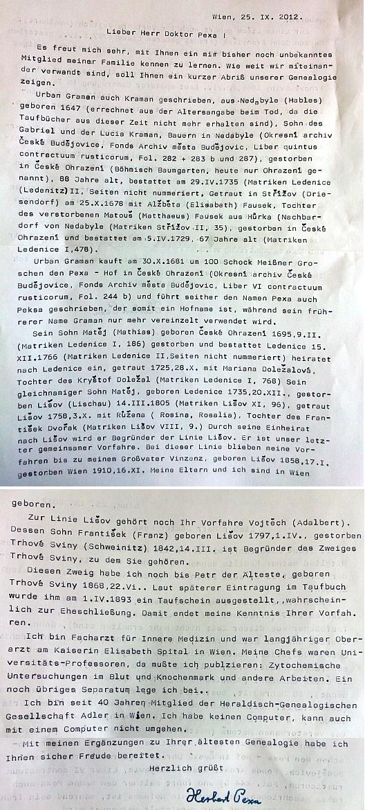 ... a pozdější dopis Herberta Pexy Petru Pexovi s cennými vlastními životopisnými daty, mj. i ohledně místa narození