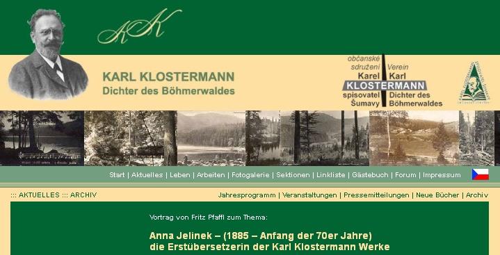 Záhlaví webových stránek s jeho projevem o Anně Jelinekové a Karlu Klostermannovi