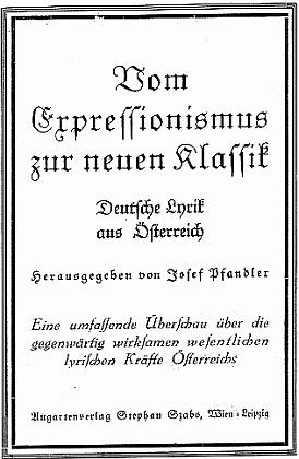 Obálka antologie, kterou sestavil, vydané nakladatelstvím Stephan Szabo (1936)