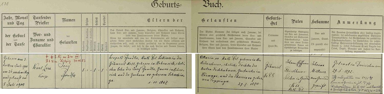 """Ze záznamu gmündské křestní matriky se dovídáme, že se narodil dne 3. července roku 1900 v České Cejli (Böhmzeil) čp. 88 (jde o část města Gmünd, druhá část připadla po první světové válce k nově utvořenému městu České Velenice) a 8. července ho téměř týden poté v Gmündu pokřtil kooperátor Karl Lom (kmotrem dítěte se stal gmündský řezník a uzenář Johann Hoffmann) - chlapcovým otcem byl lakýrník  v České Cejli čp. 88 Leopold Pfandler (*1. listopadu 1867 v městysi Hoheneich, okr. Gmünd), syn rolníka v Hoheneichu Josefa Pfandlera a Barbory, roz. Schachingerové, matkou novorozencovou byla tu """"AMaria"""" (tj. Anna Maria) psaná dcera (*29. července 1870 v Neu Niederschrems) hostinského v Hörmanns, okr. Gmünd, Antona Fichtenbauera a Theresie, roz. Poppingerové - rodiče se brali 29. května roku 1892 v poutním místě Marie Dreieichen a nemíjí nás tu ani dodatečná informace o Pfandlerově vystoupení z církve v květnu roku 1940 a o návratu do ní v prosinci 1945, jakož i o jeho úmrtí dne 6. července roku 1987 ve Vídni XIII. Hietzing"""