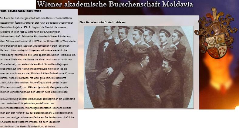 Na webových stránkách obnoveného buršáckého sdružení Moldavia ve Vídni, jehož      byl zřejmě kdysi členem, se můžeme dočíst  i o šumavských kořenech tohoto spolku