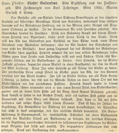 Recenze jeho knihy na stránkách literární přílohy Mittheilungen des Vereins für Geschichte der Deutschen in Böhmen (1904)