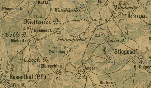 Rodný Šimákův Dvůr na staré mapě