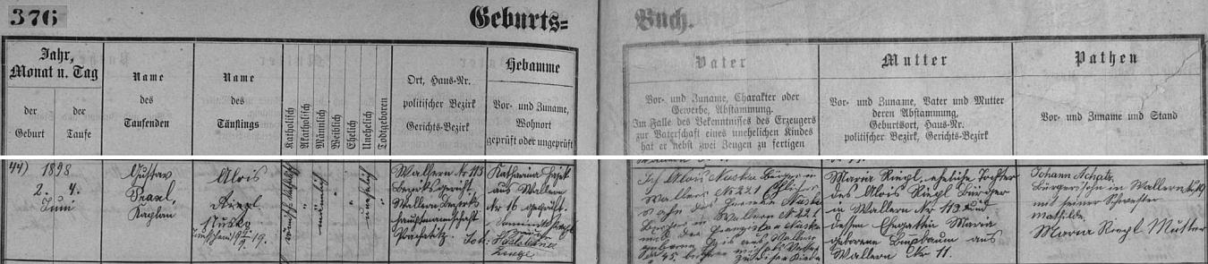 Záznam křestní matriky farní obce Volary o jeho narození Aloisi Nuskovi staršímu (synu Hermana Nusko a jeho ženy Franzisky, roz. Hoisové, obou z Volar) a jeho manželce Marii, dceři Aloise Riegla a Marie, roz. Buchbaumové (ta je tu i podepsána jako kmotra), rovněž obou z Volar