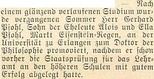 Zprávu o jeho promoci na doktora filosofie v Erlangen přinesl krajanský měsíčník ve svém vánočním čísle roku 1953