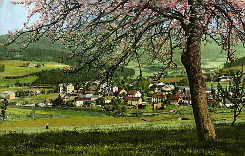 Železná Ruda na Seidelově barevné pohlednici z roku 1913