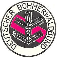 Pozměněný poválečný emblém DBB na pamětní publikaci, kde vyšel jeho text opojmu domova (černočervenozlatá trikolora je nahrazena sudetoněmeckou rudou a černou)