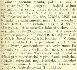 Heslo z Masarykova slovníku naučného (1931) staví skutečně český národní socialismus po bok německému nacismu, tehdy ještě teprve usilujícímu u moc