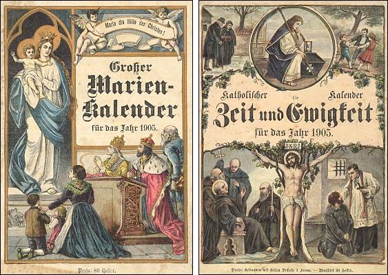 Obálky (1905) dvou vimperských kalendářů s jeho povídkami
