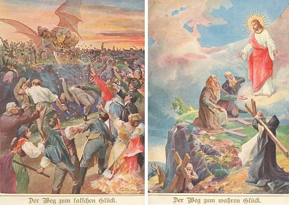 """Kalendáře s jeho povídkami uváděly většinou působivé barvotisky, které se daly i zarámovat     jako tyto dvě, nazvané """"Cesta k falešnému štěstí"""" a """"Cesta k pravému štěstí"""""""