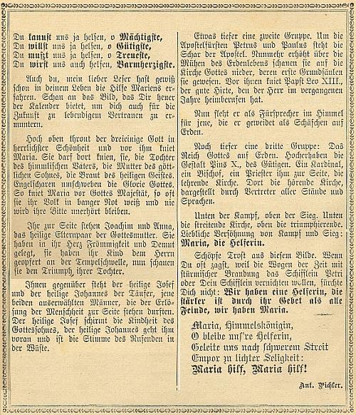 """Tady dodal i popis titulního obrazu Velkého mariánského kalendáře pro rok 1905 s vysvětlením """"milému čtenáři"""""""