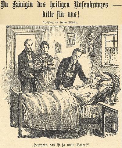 """Jedna ze srdceryvných ilustrací jeho povídky """"Královno svatého Růžence, pros za nás!"""" s textem """"Pane Bože, to je přece můj otec!"""""""