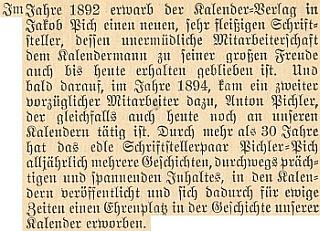 O spisovatelském páru Pichler-Pich v brožuře k 50. výročí vimperské firmy Steinbrenner