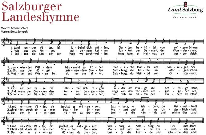 Hymna rakouské spolkové země Solnohradsko je provázena jeho slovy