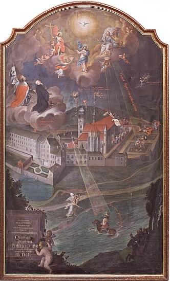 Obraz Pětisté výročí cisterciáckého kláštera Vyšší Brod (klášter Vyšší Brod, viz i Anonym 17. stol, Quirin Mickl a zejména pak Jiří Franc)