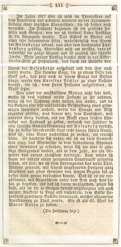 """Václav Jan Tomášek (Tomaschek) líčí ve svém vlastním životopise, jak zhudebnil """"baladu"""" Karoline Pichlerové o založení Vyššího Brodu"""