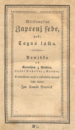 Obálka Landfrasova vydání českého překladu jedné z jejích povídek (1845)