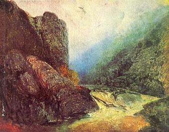 Čertova stěna na dvou variantách obrazu Adalberta Stiftera (1841 a 1845)