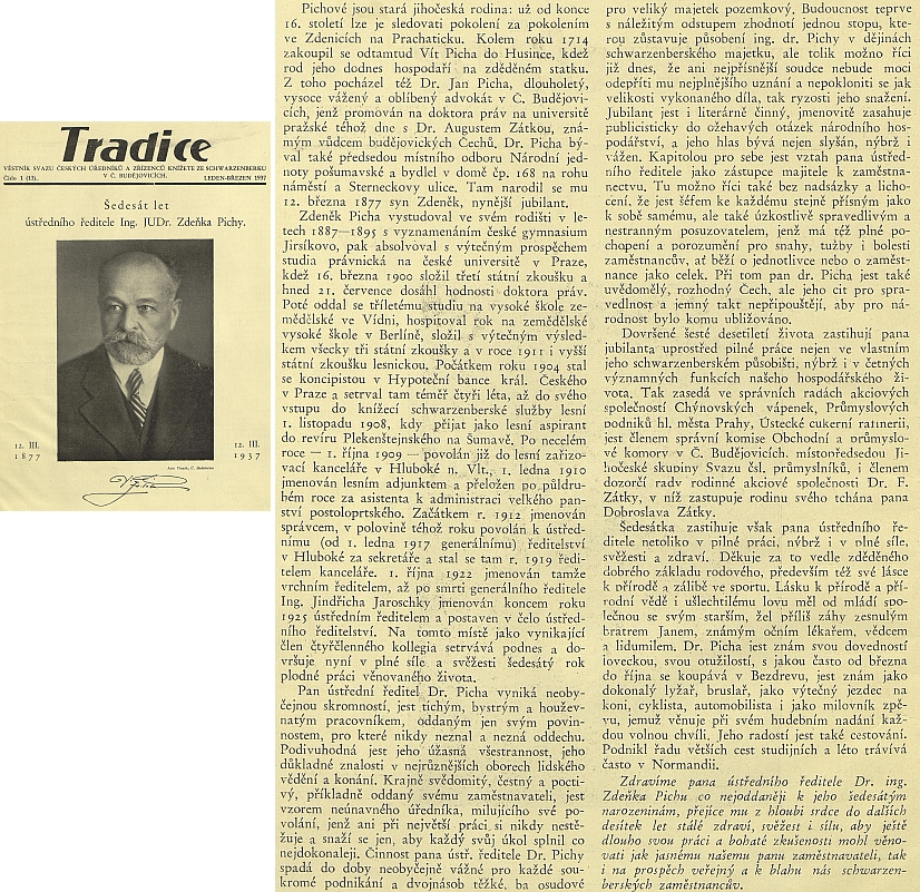 Text k jeho šedesátinám roku 1937 v Tradici, věstníku Svazu českých úředníků a zřízenců knížete ze Schwarzenberku