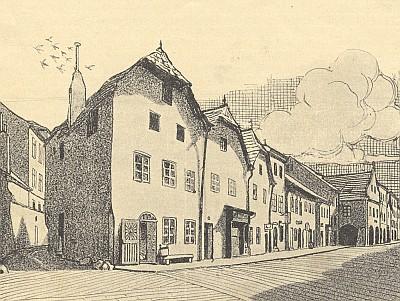 """Obrázek ze starých Budějovic na kresbě Karla Kostiala vtzv. """"budějovickém"""" čísle časopisu Deutsche Arbeit (1905), kde vyšly i její básně"""