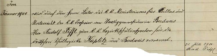 Podpis jejího manžela ve školní kronice Dolního Markschlagu (dnes zcela zaniklá Dolní Hraničná) doprovází záznam o jeho jmenování     okresní školním inspektorem pro německé školní okrsky Kaplice a Budějovice vlednu1900