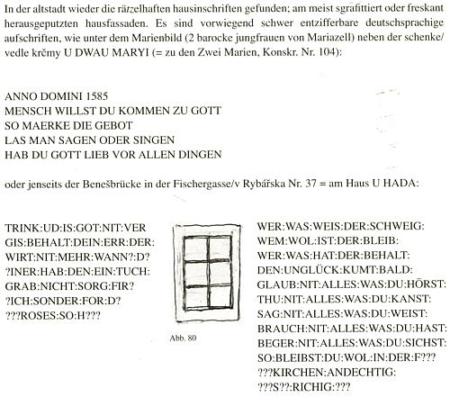 Stránka z jeho knihy zachycuje i dva staré německé nápisy na českokrumlovských domech