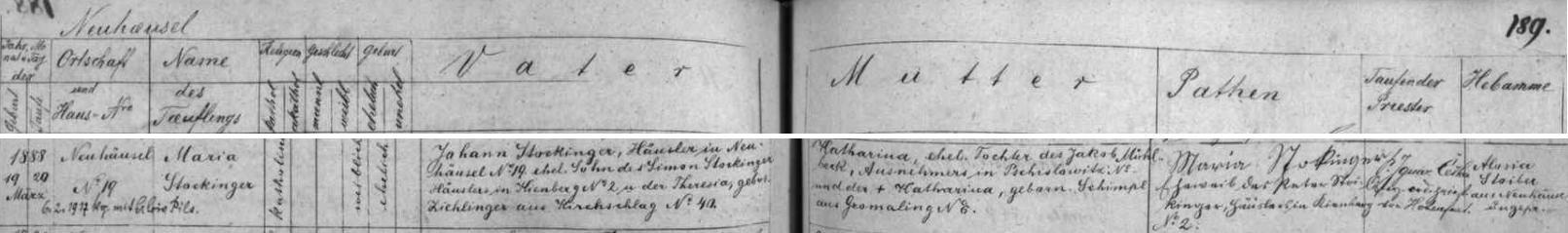 Záznam o narození jeho matky v Nových Domcích čp. 19 v křestní matrice farní obce Kapličky
