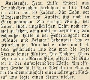 O úmrtí jeho tchyně Luise Anderlové vkvětnu roku 1952 v Karlsruhe, kde žila ijejí dcera Maria, vdova po něm