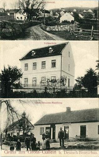 Stará pohlednice z Velkých Skalin i s budovou rodné místní školy