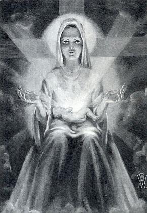 Madona s Jezulátkem na klíně, jak jí Walter namaloval ve svých 11 letech: tvář Matky Boží přitom vytvořil podle své vlastní v zrcadle, podsvícené kapesní lampou - matce se při odsunu podařilo synovu práci zachránit