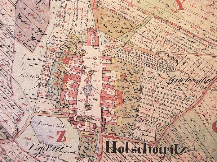 """Holašovice na indikační skice katastrální obce Záboří, rybník, dnes na mapách zvaný Nekysel, tu má označení """"Egersee"""""""