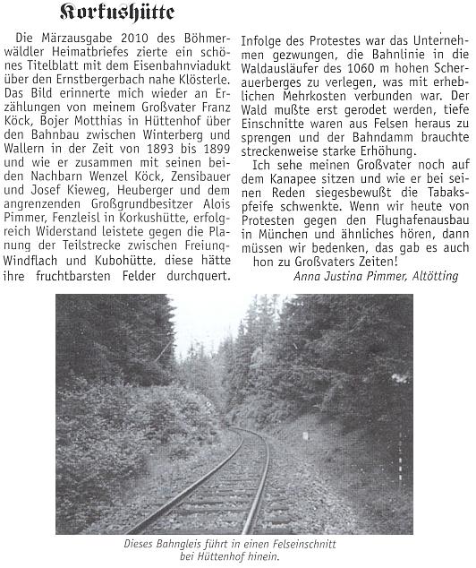 Tímto textem vzpomněla protestu svého dědečka a jeho selských sousedů proti trase železnice z Vimperka doVolar,     který měl tenkrát v posledních letech devatenáctého století úspěch - pole měla přednost!