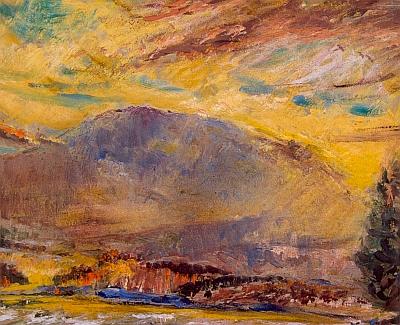 Hora Boubín na olejomalbě Jiřího Rejžka z roku 1978